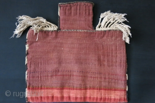 "Baktiari tribal Saltbag, wool sumak weave on cotton with saturated natural dyes. Original Goat hair side wrappings. Circa 1900 or earlier size : 23"" X 23"" - 58 cm X 58 cm"
