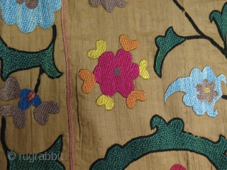 "Antique Uzbek silk embroidered suzani. Small patch on the bottom. Size: 36"" x 51"" - 92 cm x 130 cm."