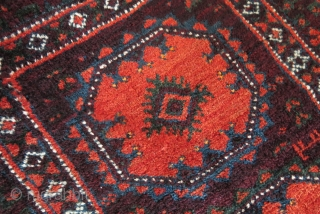 "Baluch small rug, little bigger than a blalisht good pile, condition and colors. Sumak woven end kilim parts. Circa 1900 -1920s. 40"" X 22.5"" - 102 cm X 57 cm"