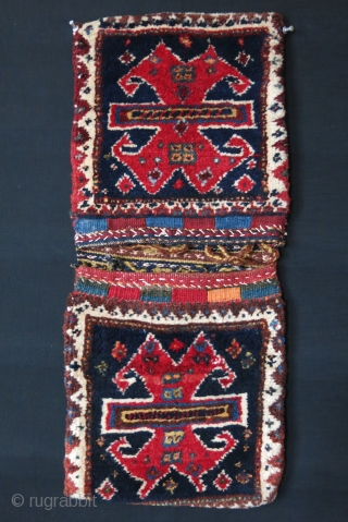 "Southwest Persia - Luri Qashkai mini Khorijin- Thick pile weave with natural colors and tribal central design,  Circa 1900 or earlier - Size: 26"" X 11"" - 66 cm X 28  ..."