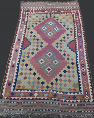 Southwest of Persia - Qashkai tribal kilim. a nice one survived form 19th century. Shows its happy days form its mature look. Embroidered record in one corner of being imported to Western  ...