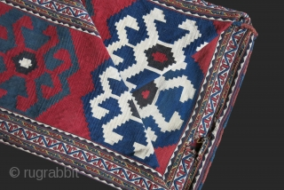 """Shasavan - mafrash kilim / Sumak Bedding bag. Fairly in good condition besides couple little wears as seen on images. All natural colors. Circa 1900 or earleir. Size : 47"""" long -22.5  ..."""