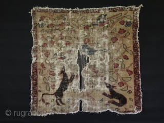 """Interesting Small Persian rug fragment with hunting scene. It is not reduced and in original size. Circa mid. 19th Century. Size: 39"""" x 39"""" - 100 cm x 100 cm."""