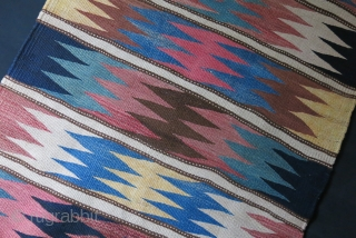 "Persian tribal Kurdish Kilim- Bidjar - Tekap area, Dark deep indigo looks like black but it is not. There is some fading in light burgundy red. size : 77"" X 46"" -  ..."