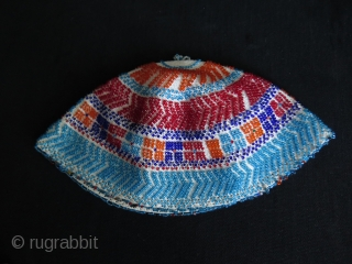 Syrian Durzi beaded hat. Glass beads on cotton.