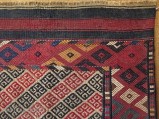 Turkmen Sahra Yomud Goklan kilim. Great small antique Turkmen kilim. Not very many of them published. Great collectible one. All high altitude wool with natural colors. Size: 33″ x 48″ – 84  ...