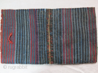 """Baktiari mini double bag. Wool and cotton weave with saturated natural colors. Both side has locking braided loops. One side has lower pile from use. Circa 1900 or earlier size : 19.5""""  ..."""