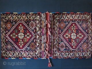 "Qashkai large size double bag. full pile with good condition and locking loops.. Circa 1900 -1920s size: 49"" X 25"" - 125 cm X 64 cm"