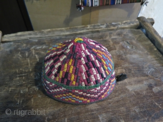 "Turkmen Hat. Some silk and cotton embroidery on cotton base. Height 11 cm - 4.3"" and in diameters 18 cm - 7"""