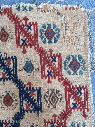 Central Anatolian old fragment cicim.Wool on cotton