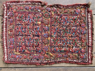 Rare Antique Baktiari Soumak Chanteh or small bag, 19 X 13 Inches. Probably late 19th Century. All natural colors including beautiful jewel-like blue and green. Good condition including original selvedges with some  ...