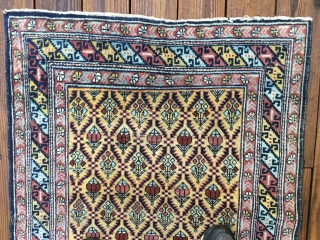 Antique Caucasian Shirvan or Dagestan rug circa 1890 - 1910. Bright lemon-yellow field and borders with an overall lattice design All natural saturated colors with  red, light blues and green. Unusual  ...