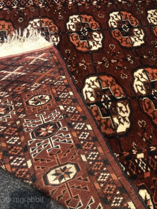 A lovely small antique Turkmen Tekke rug with 2 rows of Guls, Age: 19th century. Size: 170x105cm / 5'6''ft x 3'5''ft. All natural colors, good overall condition, little old moth damage at  ...
