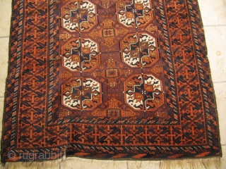 Antique Baluch rug with Tekke Guls. Size: ca 197cm x 102cm / 6'5''ft x 3'4''ft