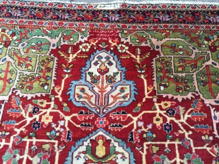 Antique Persian Saruk rug with inscription and signature, very nice drawing and beautiful colors including a charming pistachio green. Very good overall condition with full pile, ends just slightly reduced. Size: 204x130cm  ...