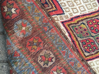 Very decorative antique Kurdish tribal runner, size: ca. 435x102cm / 14'3''ft x 3'3''ft good overall condition, sides and ends rebound. www.najib.de
