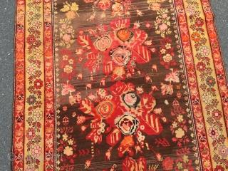 Antique Caucasian Karabagh rug with a so called Gol Farang or French flower design. Age: circa 1910, size: ca. 275x130cm / 9ft x 4'2''ft www.najib.de