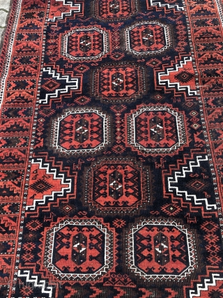 """Fine antique Torbat e Heydarieh Baluch rug with lovely small animals and a cool """"Ufo"""" border, size: 205x115cm / 6'7''ft x 3'8''ft."""