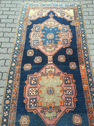 Fresh arrival from a German estate: Antique runner from Northwest Persia, woven on a wool foundation. Very decorative  size: ca. 415x118cm / 13'7''ft x 3'8''ft www.najib.de