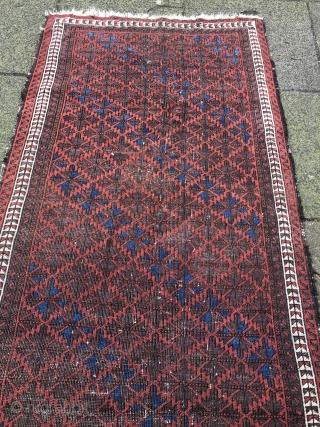 Antique Baluch rug with a minimalistic border, size: 170x88cm / 5'6''ft x 2'9''ft