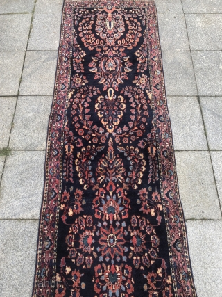 A highly decorative antique blue ground Persian Saruk Mohajeran runner. Long and narrow size: ca. 475x75cm / 15'6''ft by 2'5''ft