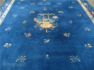 Antique Chinese Oversize Peking carpet. Circa 1900. Size: 515x370cm / 16'9'' x 12'2'' Comes out of a German estate. Mainly with full pile. One end reduced. A few old repairs. Little moth  ...