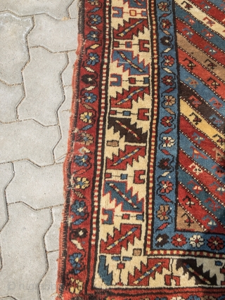 Colorful antique Caucasian Shahsavan long rug, age: 19th century, all natural colors, size: ca. 297x98cm / 9'8''ft x 3'2''ft , sides and ends not perfect