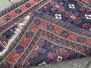 Antique Baluch Mina Khani bagface, age: 19th century. Beautiful blue color. Very nice collector´s item, size: 72x66cm / 2'3''ft x 2'1''ft, small old repair in one corner, little old moth damage.