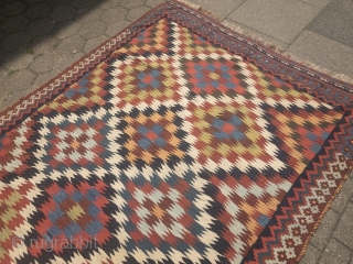 Antique Southpersian Qashqai kilim, 19th century, all natural colors. Size: 315x175cm / 10'4''ft  x 5'8''ft