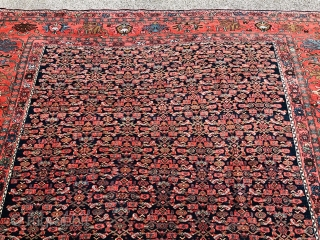 Antique Persian Bidjar carpet, age: circa 1900, fine weave. Beautiful Herati design on a navy blue field surrounded by a very well drawn red border. Size: ca. 360x260cm / 11'8''ft by 8'5''ft.  ...
