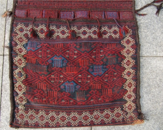 Antique Baluch Khorjin /doublebag woven in Sumakh technique. Size: 123x56 cm / 4ft x 1'8''ft www.najib.de