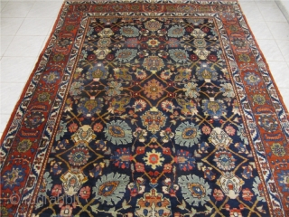 Antique navy ground Tabriz rug from the 1920´s with a very well balanced all over design. Size: 375x215cm / 12'3''ft x 7'1''ft www.najib.de