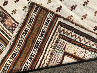 Antique Sofreh (bread or dining cloth) woven by Qashqai tribes of Southwest Persia, size: ca. 135x115cm / 4'4''ft x 3'8''ft , age: early 20th century, wool on white cotton