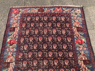 Antique Afshar rug from Southpersia, nice sky blue flower border, well drawn Boteh design on a black field. Size: 235x145cm / 7'7''ft x 4'8''ft