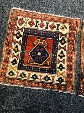 A pair of antique Northwest Persian Shahsavan (?) bagfaces, size of each: ca. 50x48cm / 1'7''ft x 1'6''ft