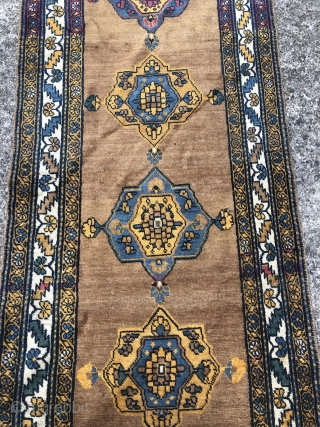 Antique Northwest Persian (Kurdish?) runner, 19th century, beautiful camel ground color. Size: ca. 350x100cm / 11'5ft x 3'3ft