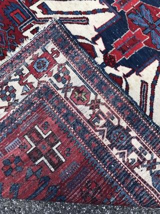"""German estate find: Antique """"Adler"""" Kazak inspired Karadja rug from Northwest Persia, size: 415x150cm / 13'6''ft by 5ft"""
