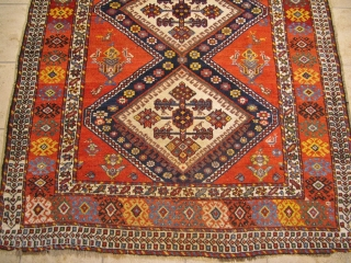Antique Luri-Qashqai tribal rug from Southwest Persia with a happy design full of people and animals. 19th century. Size: 275x150cm / 9ft x 5ft  www.najib.de