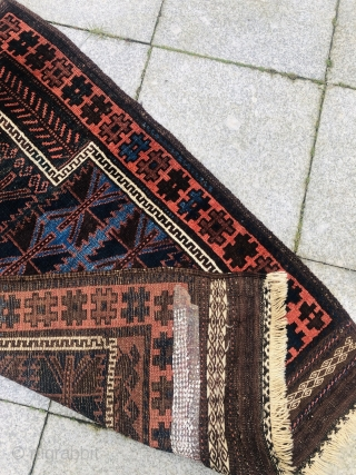 This antique Timuri Baluch prayer rug has beautiful shades of indigo blue, very nice large kilims and glossy, shiny wool. Good condition, size: ca. 123x80cm / 4'1''ft by 2'6''ft