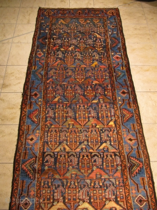 Antique Persian Hamedan runner, good condition. Size: 380x105cm / 12'5''ft x 3'4''ft www.najib.de