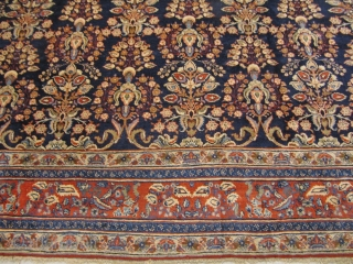 Very decorative antique Tabriz rug, good quality, beautiful navy blue ground color. Size: ca. 425x335cm / 14ft x 11ft www.najib.de