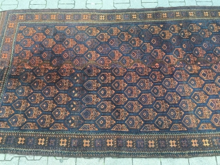 Large antique Baluch rug from West-Afghanistan with long flat woven kilim ends, woven in two parts. Good overall condition. Size: ca. 280cm x 135cm / 9'2''ft x 4'4''ft  www.najib.de
