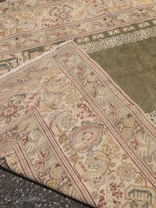 Fine antique Turkish Panderma prayer rug, beautiful mint green field color. Size: 165x125cm / 5'4''ft x 4'1''ft