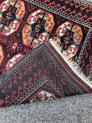 """Antique Turkmen inspired Baluch rug with """"Tekke Gul"""" design. Size: ca. 210x105cm / 7ft by 3'5''ft good overall condition, little old moth damage."""