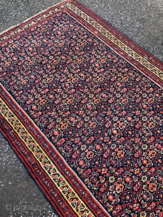 Antique Kurdish Senneh kilim from West-Persia, size: ca. 200x130cm / 6'6''ft by 4'3''ft