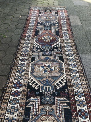 From an old German estate: Antique Northwest Persian or Caucasian long rug (Shahsavan?), age: 19th century. Size: 403x115cm / 13'2''ft x 3'8''ft , some spots of localized wear (nothing serious)