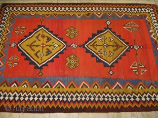 Very nice antique Qashqai kilim. Former Kossow collection. circa 1900. Size: 275x160cm / 9ft x 5'3''ft
