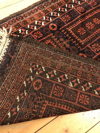 Antique Baluch prayer rug . Size : ca 150cm x 87cm / 5ft x 2'9''ft. Nice collector´s piece