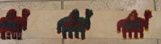 Rare Luri-Bakhtiary tent band fragment displaying a camel caravan. All natural colors. Nice collector´s item. Size: 280x10cm / 9'2''ft x 0'3''ft