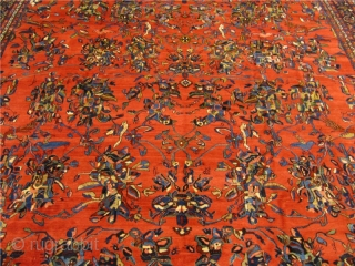 Antique Persian Oversize Bakhtiary carpet. Fine weave, beautiful design with birds and parrots. Good condition. Glossy and shiny wool. Age: circa 1900. Size: ca 630x400cm / 20'7'' x 13'1'' www.najib.de